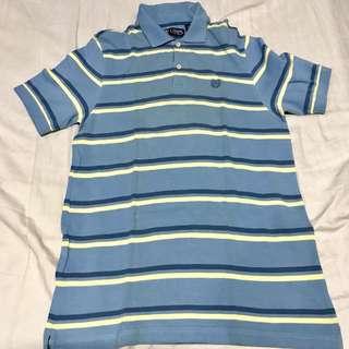 Chaps Light Blue Striped Polo Shirt (M)