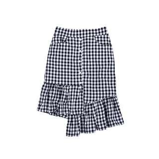 Checkered Uneven Hem Skirt
