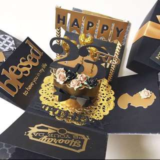 Happy 23Rd Birthday Explosion Box Card in Gold And Black