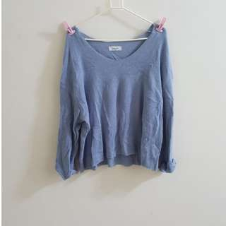 🚚 【全新】韓版baby藍大圓領斜肩針織上衣