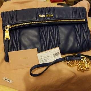 Miu miu 藍色手袋,配原裝帶及塵袋
