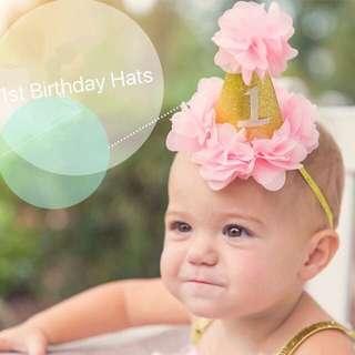 🐰Instock - 1st birthday hat, baby infant toddler girl children sweet kid happy abcdefg