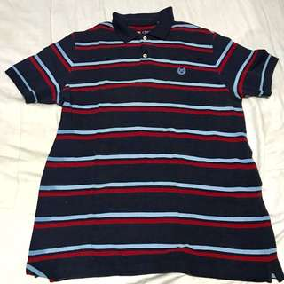 Chaps Royal Blue Striped Polo Shirt (M)