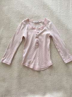 Country Road Light Pink Spot Size 2 Henley long sleeve