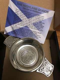 """2.5""""蘇格蘭威士忌碗 Celtic Polished Pewter Quaich"""