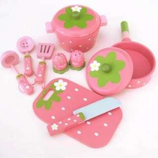 BN Wooden Strawberry Cooking Crockery Kitchen Utensils Toy Play Set
