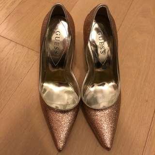 Guess 啡金色閃粉高踭鞋