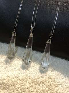 Natural White quartz pendulum (925silver chain)
