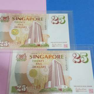 $25-Commerative Notes 2pcs running original with cheque book