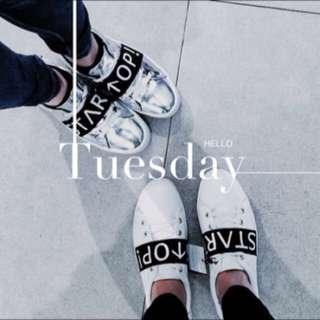 Zara同款 設計款 反光 雷射 銀色 鬆緊帶 鬆糕鞋 厚底鞋