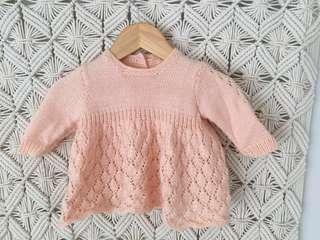 Handmade Ballet Pink Knit Jumper / Jumper Dress size 3 - 6months
