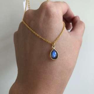全新拉長石吊墜頸鏈 14K鍍金防敏感頸鏈 crystal necklace chanel Dior Tory 3ce