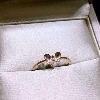 可愛小蝴蝶18k真金玫瑰金白金天然鑽石戒指🎁全新生日禮物女朋友紀念日禮物