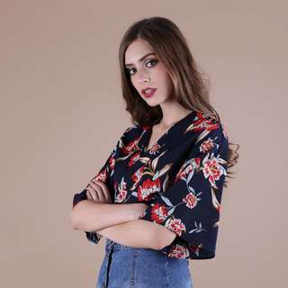 TTR Aster Wrapped Top in Navy Florals