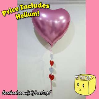 Large Pink Balloon with Paper Hearts | Helium Filled | Perfect For Expressing Your Love