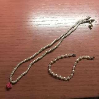 Pearl rose necklace with pearl bracelet