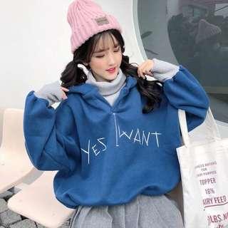 🚚 【貝莉潮流】韓版ulzzang加絨加厚IG超火的假兩件帽T