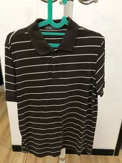 Giordano Dark Brown Striped Shirt - Size M