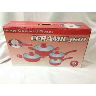 Ceramic Stone Frying Pan (Red) Set