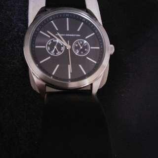 Black strapped unisex watch