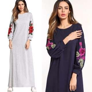 (M~2XL) European round neck embroidery appliqués long-sleeved fashion dress