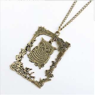 2 for $6 - Owl Bronze Vintage Long Necklace