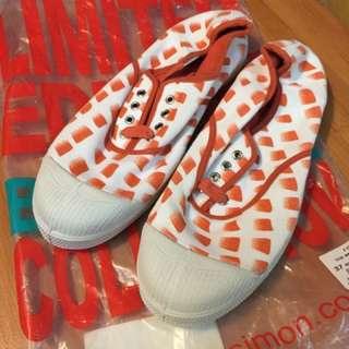BENSIMON經典橘格紋基綁帶鞋款