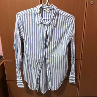 baby blue and white striped blouse top