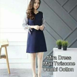 Mira Dress   Bahan twiscone combi cotton motif salur fit L