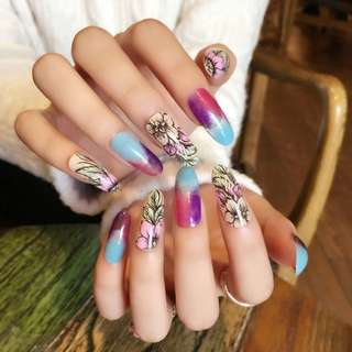 Starry Sky Long False Nail Beige Oval Head Acrylic Fake Nails Flower Leaf Art Decoration Tips Z428