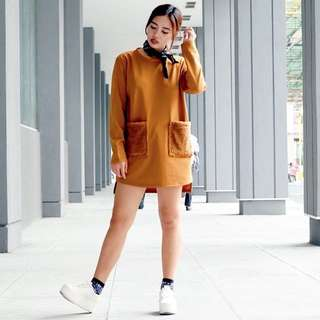 Brown Dress with Fur Pockets