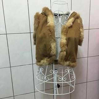 無袖毛領馬甲外套棕色時尚可愛女裝上衣外套短版