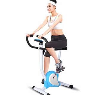 Indoor Upright Stationary Belt Exercise Bike (Blue/Red)
