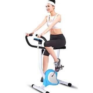 Indoor Upright Stationary Belt Exercise Bike (Blue/Red)