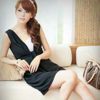 Black Stylish Korean Dress With White Tube