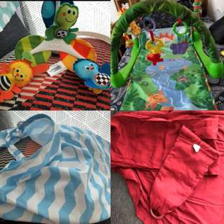 Bundle! Musical mobile, play mat, breast feeding cover, 2 ring sling