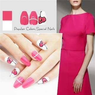 New 24pcs Decorative Fake Nails Long Square Ballerinas Flower Acrylic Nail Tips With Free Glue Full Nail Art Set Red