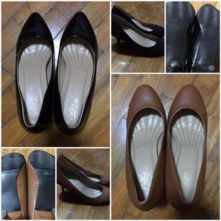 Take All 2 Follie Heels Shiny Black Matte Brown