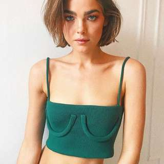 Iris tube cropped ribbed top tank - forest green