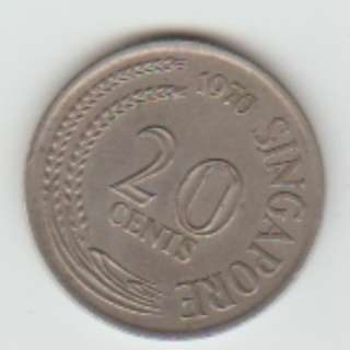 SINGAPORE 1970 20 cent COIN