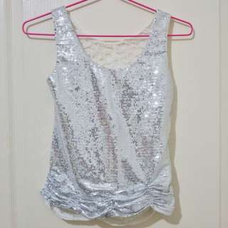 White Sequined and Lace Top