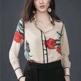 Dvf contrast piping floral shirt