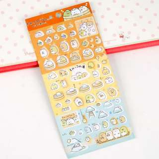 (包平郵) 日系角落生物橙底洗澡系列燙銀手帳貼紙