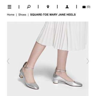 Charles & Keith Square Toe Mary Jane heels in silver