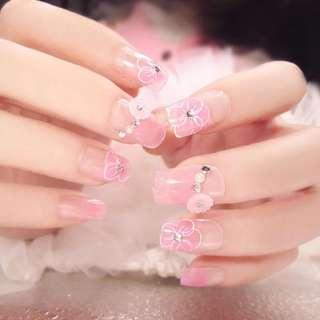 24pcs Fake Nails Tips Gradient Cherry Flower Decor False Nail Tip for Girls @ME88