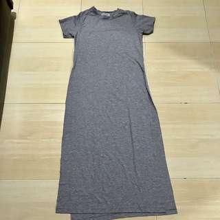 Grey Side High Slit Dress
