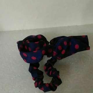 黑色桃紅蝴蝶結髮帶
