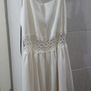 Forever21 White Spaghetti Strap dress with lace