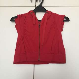 Red Vest With Hoodie
