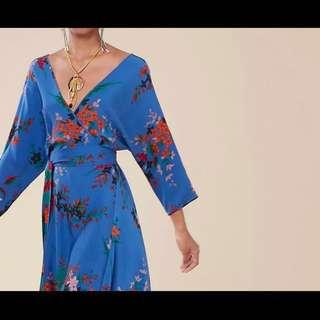Dvf wrap silk dress